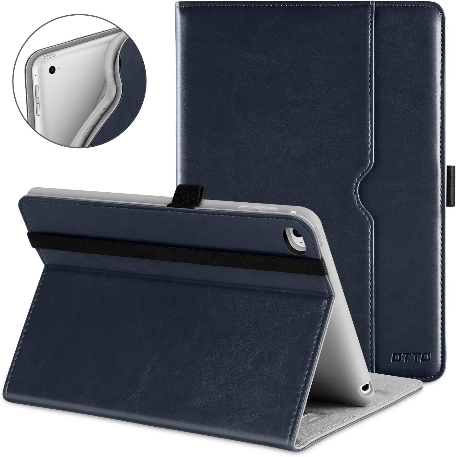 DTTO iPad Mini 4 Case, Premium Leather Folio Stand Cover Case with Multi-Angle Viewing and Auto Wake-Sleep Function, Front Pocket for Apple iPad Mini 4 - Blue