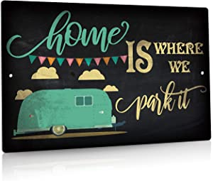 Putuo Decor Camping Decor, Retro Wall Poster Plaque Outdoor Sign for Bar, Campsite, Lake House, Cabin, 12x8 Inches Aluminum Metal Sign - Home is Where We Pack It