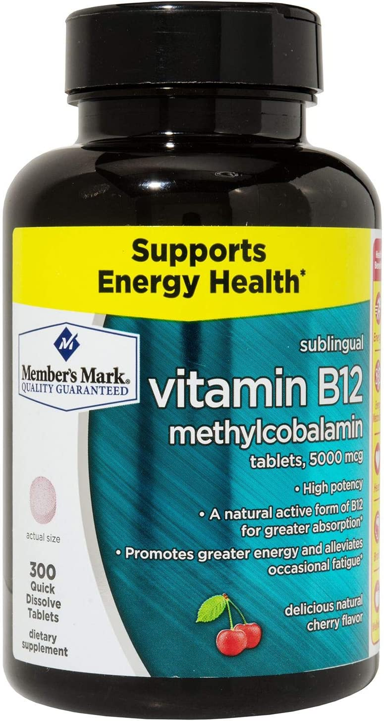 MM Sublingual Vitamin B12 5000mcg methylcobalamin (300 ct.) by Members Mark