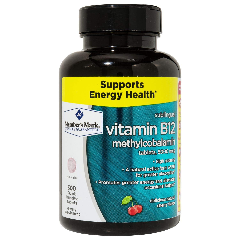 Member's Mark Vitamin B-12 Sublingual High Potency Methylcobalamin 5000mcg 300 Tablets (3 bottles (900 tablets))