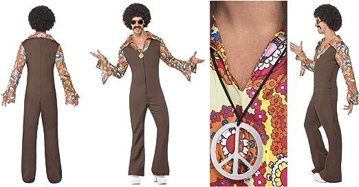 Fancy Dress World - Disfraz de Groovie Boogie de los años 70 con Camisa de Cachemira para Hombre y Adulto, con medallón de Paz Gratuito, Fiesta Retro de Boogie Disco Fever: Amazon.es: