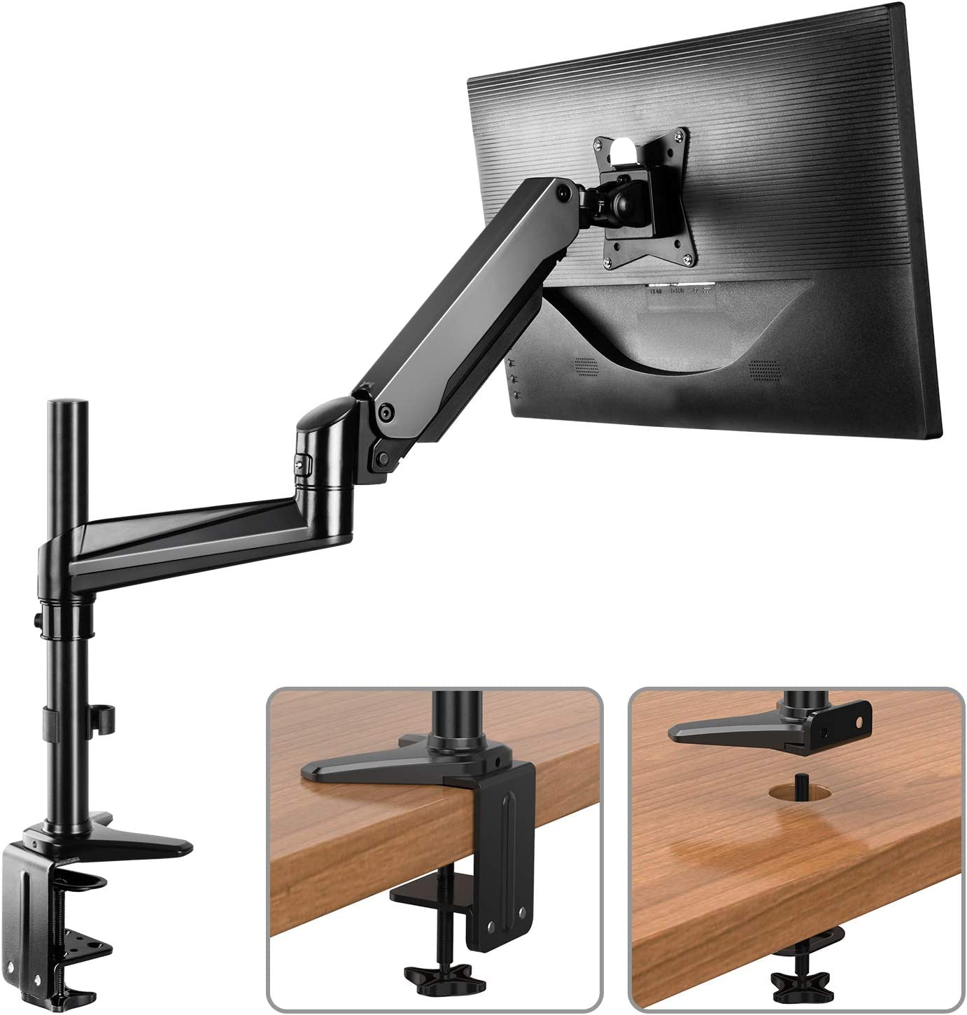 HUANUO Monitor Mount Stand - Single Arm Gas Spring Monitor Desk Mount Height Adjustable VESA Bracket for 17 to 32 Inch Computer Screen - Holds up to 17.6lbs with C Clamp Bolt-Through Grommet Base