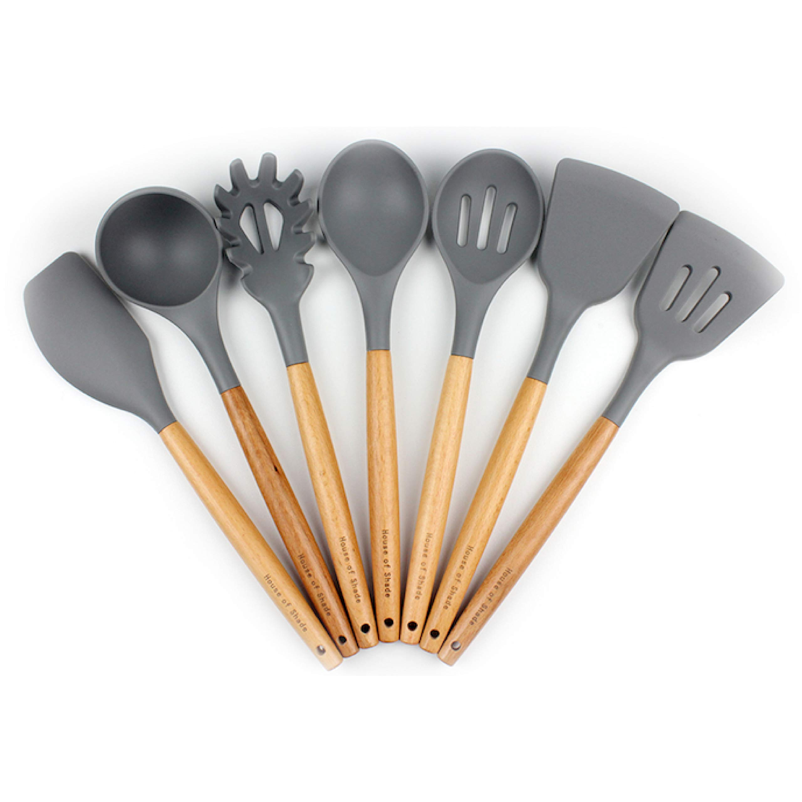 Silicone Kitchen Utensil Set by House of Shade - Natural Beechwood Handles with BPA Free Grey Heads - 7 Piece Nonstick and Heat Resistant Tools - Comfortable Wood Grip for Cooking and Mixing