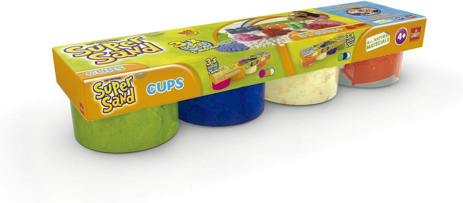 Super Sand Arena - Pack de 4 botes, color azul / verde / blanco / molde (Goliath 83222006)