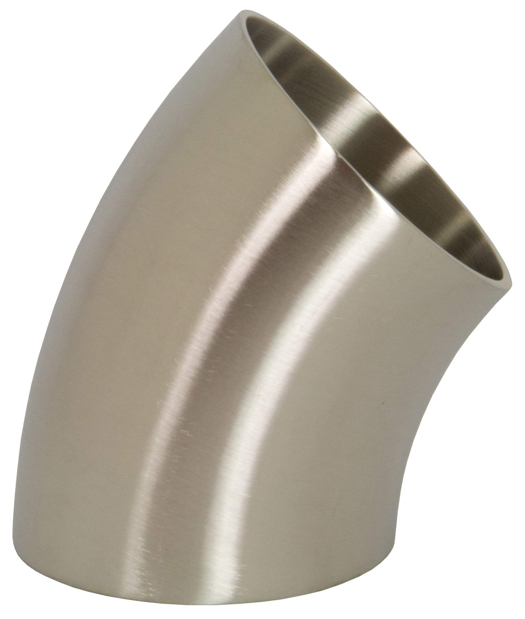 Dixon B2WK-G200P Stainless Steel 304 Sanitary Fitting, 45 Degree Polished Weld Short Elbow, 2'' Tube OD by Dixon Valve & Coupling