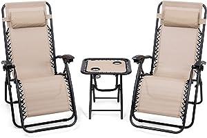Giantex 3 PCS Zero Gravity Chair Patio Chaise Lounge Chairs Outdoor Yard Pool Recliner Folding Lounge Table Chair Set Backyard Lounge Chairs (Beige)
