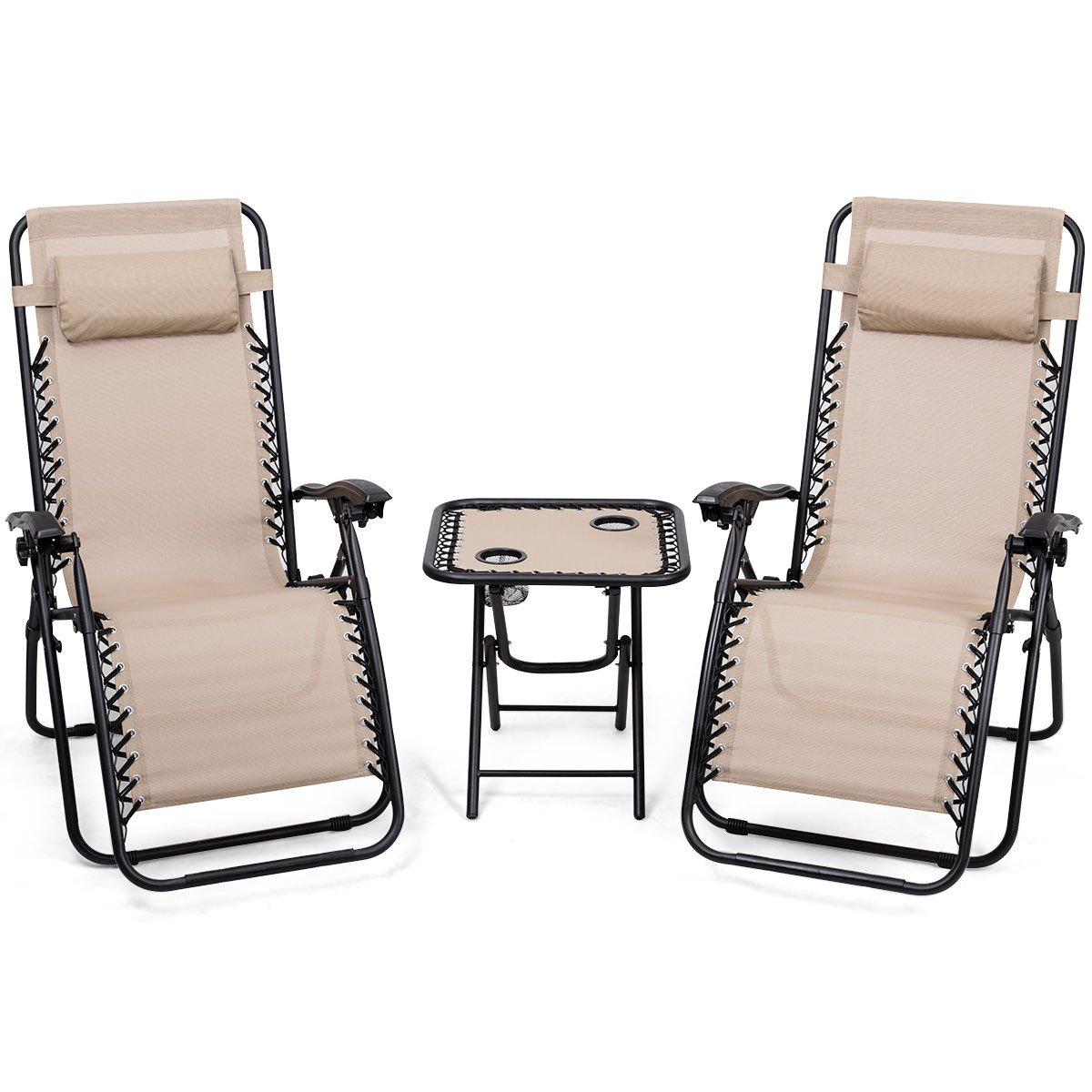 Giantex 3 PCS Zero Gravity Chair Patio Chaise Lounge Chairs Outdoor Yard Pool Recliner Folding Lounge Table Chair Set Backyard Lounge Chairs (Beige) by Giantex