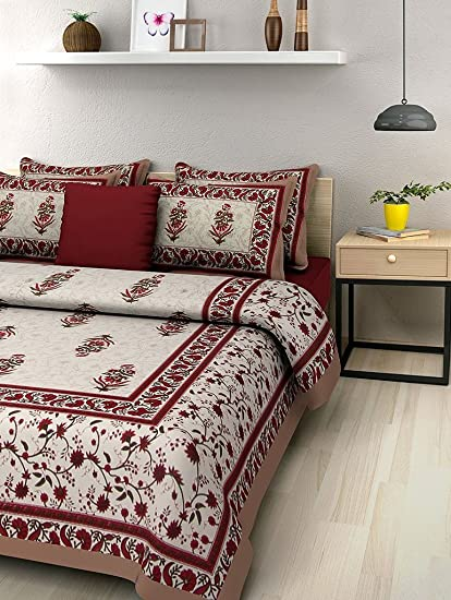 Suraaj Fashion Rajasthani Bed Sheet Cotton Double Bed Offer Double Bedsheet  With 2 Pillow Covers