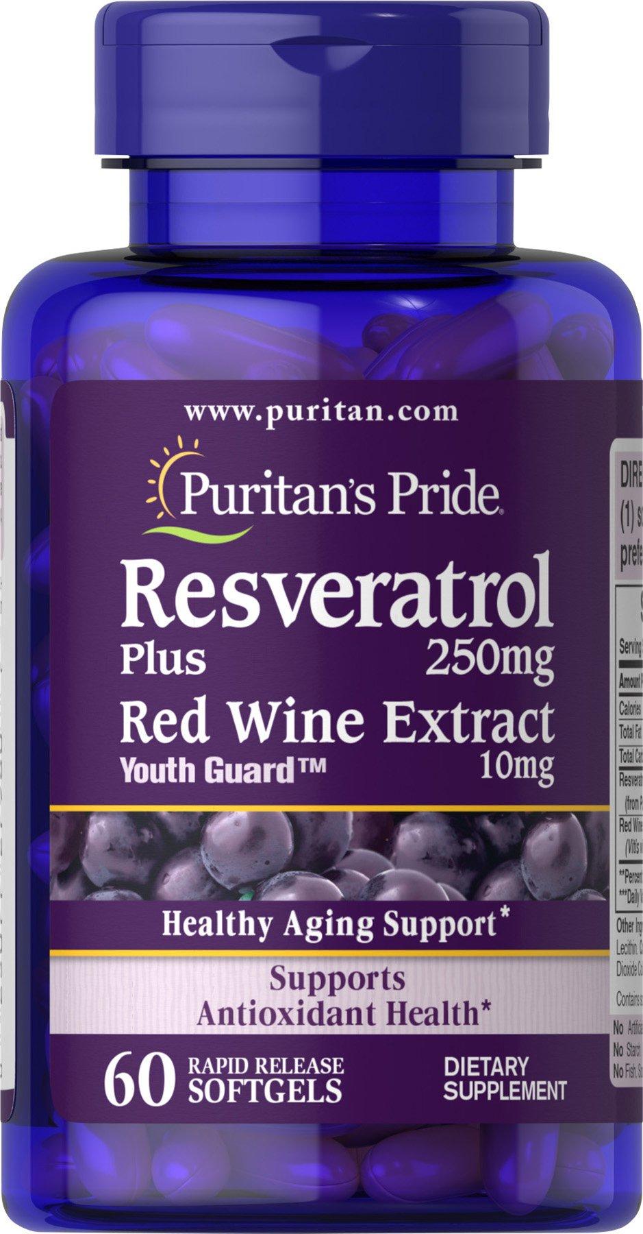Puritans Pride Resveratrol 250 mg, 60 Count by Puritans Pride