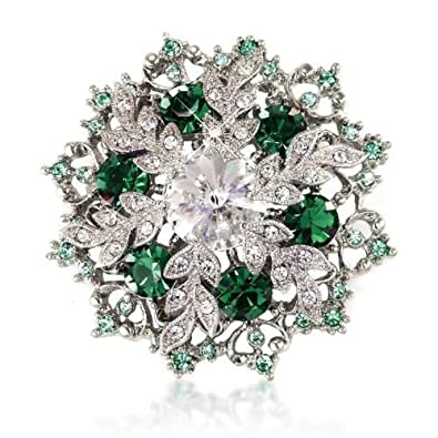 e2918635877 Amazon.com: Snowflake Brooch Pin Gift Emerald-Green Colour Crystal Silver  Tone For Her: Brooches And Pins: Jewelry