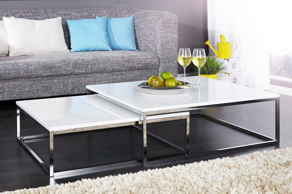 Design Couchtisch 2er Set BIG FUSION Hochglanz Weiss Chrom Tische Beistelltische Amazonde Kche Haushalt