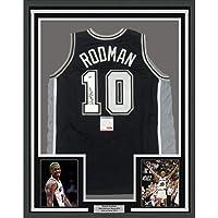 $399 » Framed Autographed/Signed Dennis Rodman 33x42 San Antonio Black Basketball Jersey PSA/DNA COA