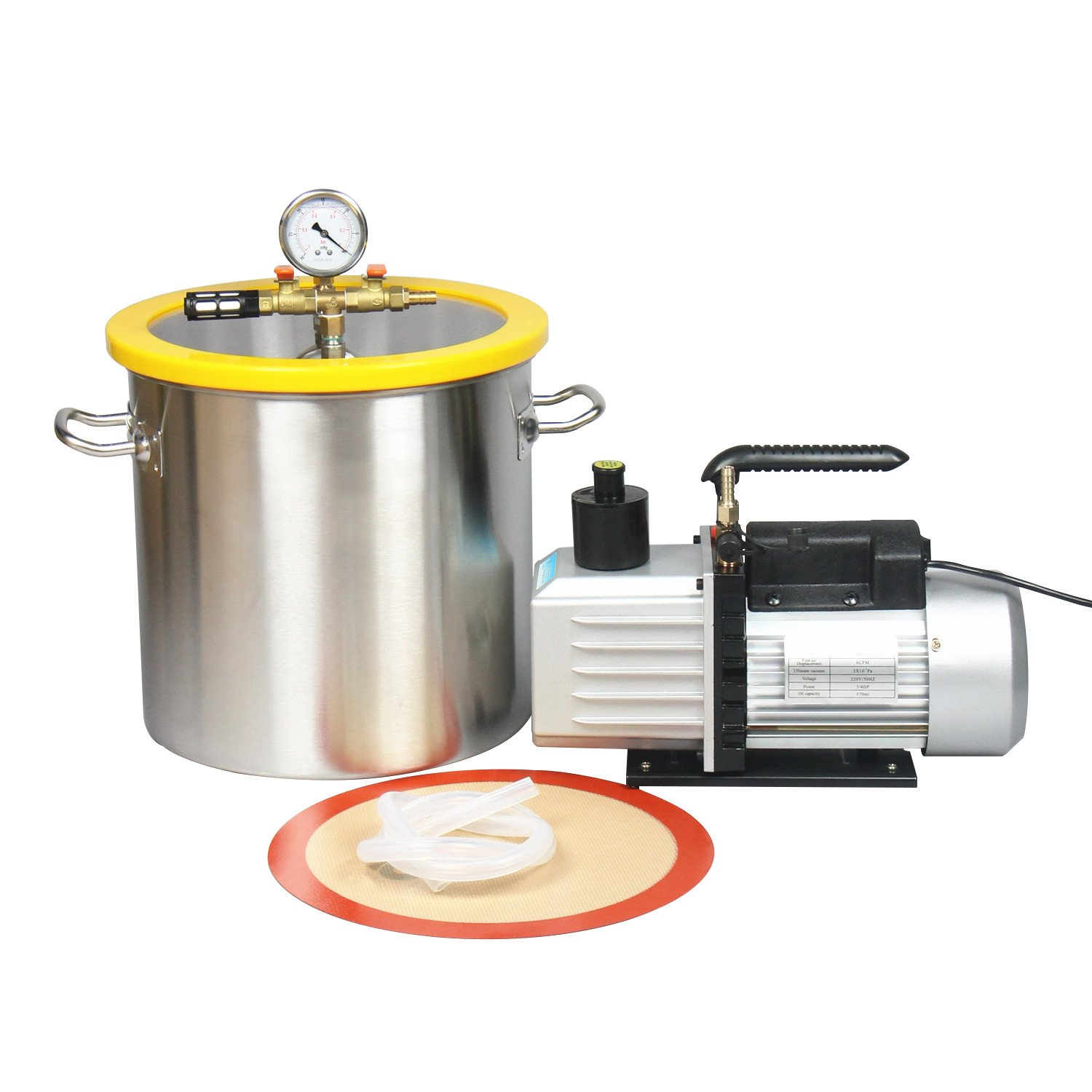 Hydrion Scientific 5 Gallon Vacuum Degassing Chamber Kit with 2 stage 7CFM Pump - Not for Wood Stabilizing by Hydrion Scientific