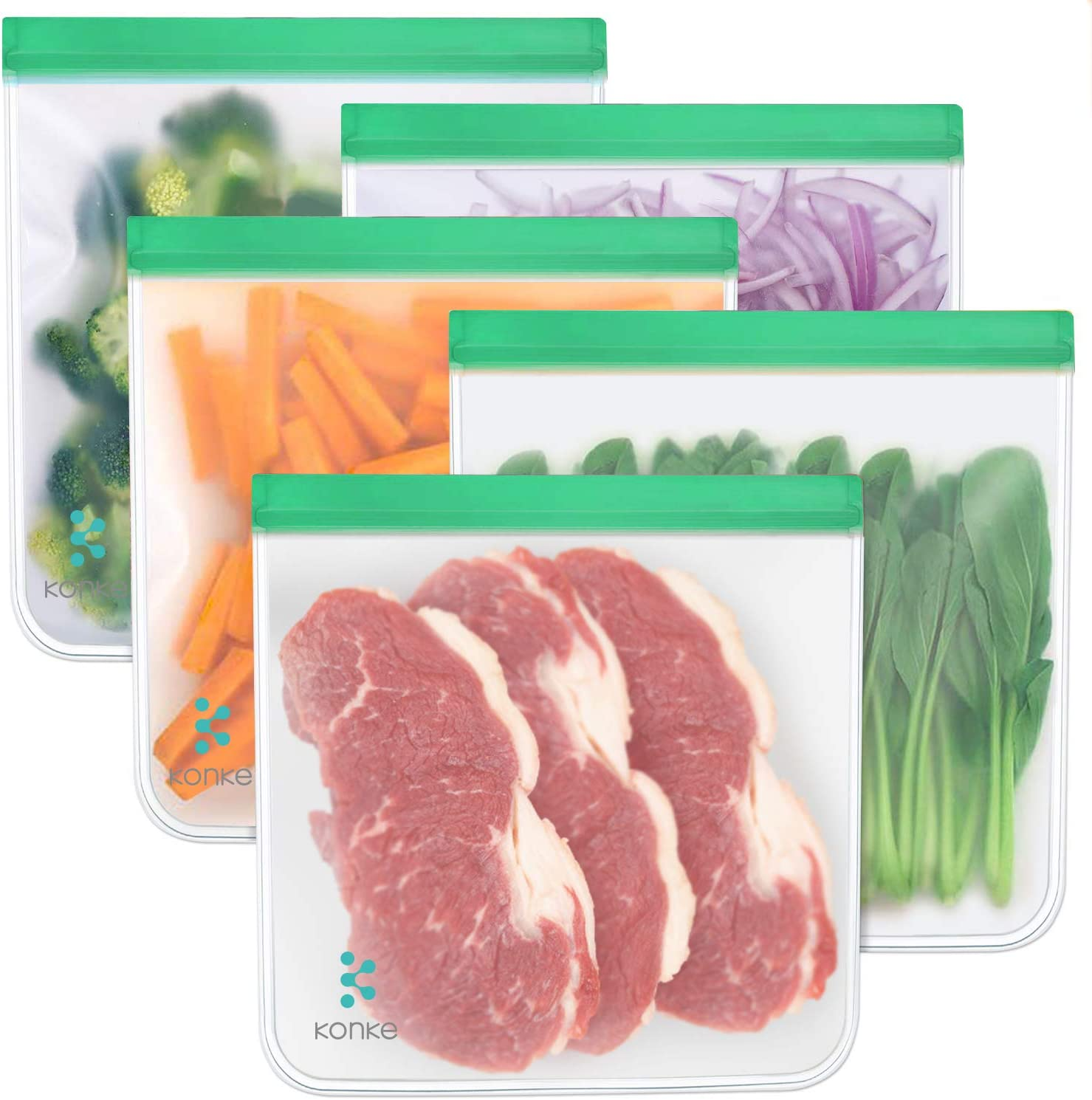 Reusable Food Storage Bags - 1 Gallon Freezer Ziplock Bags 5 PACK, LEAKPROOF Gallon Storage Bags EXTRA THICK for Marinate Meats, Fruit, Cereal, Sandwich, Snack, Travel Items, Meal Prep, Home Organizat