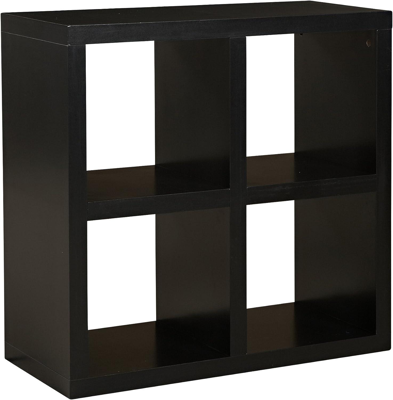 Linon Home Decor Hollowcore 4-Cube Square Bookcase, Black