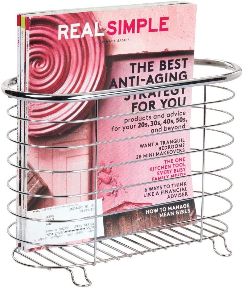 mDesign Decorative Metal Farmhouse Magazine Holder and Organizer Bin - Standing Rack for Magazines, Books, Newspapers, Tablets in Bathroom, Family Room, Office, Den - Chrome