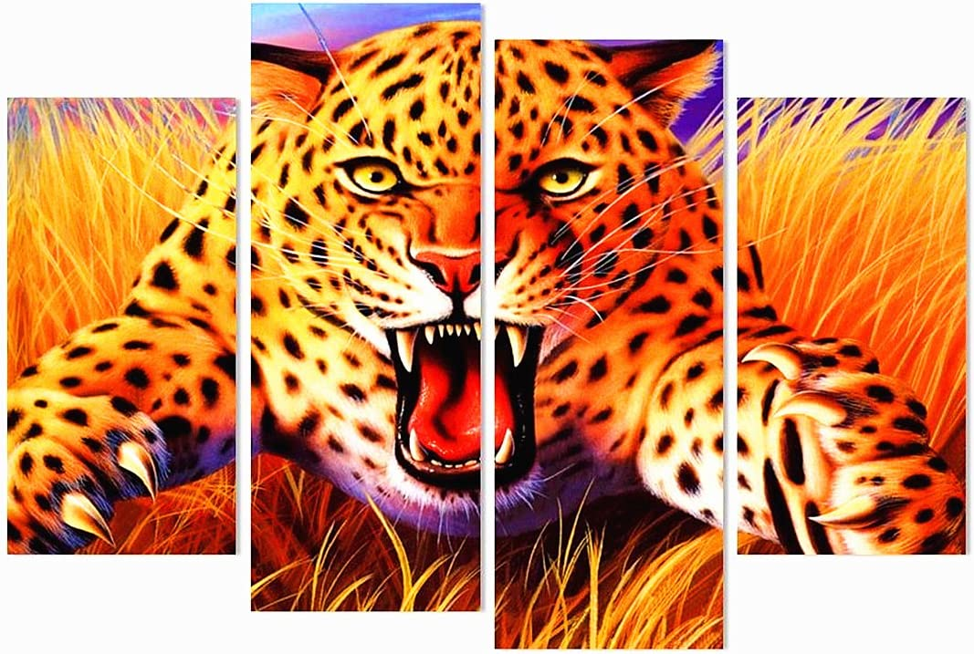 Cheetah Animal Painting 4PCS HD Canvas Print Home Decor Room Wall Art Picture