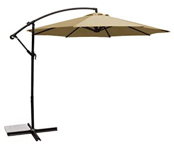 Ace Evert Offset Umbrella 8074, 10 Ft, Polyester, Beige