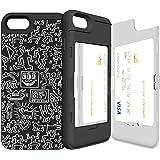 iPhone7 ケース 《SKINU》 キースへリング・KEITH HARING・カード収納可能・衝撃吸収抜群・傷防止・ミラー付き・スタンド機能・ICカード/クレジットカード完璧収納 (Pattern Black)