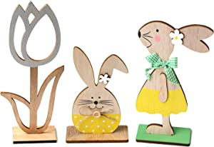 KEFAN Pack of 3 Easter Wood Bunny and Flower Tabletop Decor Cute Easter Wooden Craft Ornaments for Home Store and Office Decoration(2 Medium 1 Small)