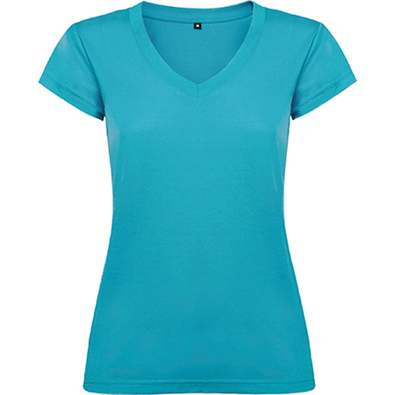 -Roly Camiseta de Mujer con Manga Corta Escote en Cuello de Pico y Acabados en Ribete Acanalado