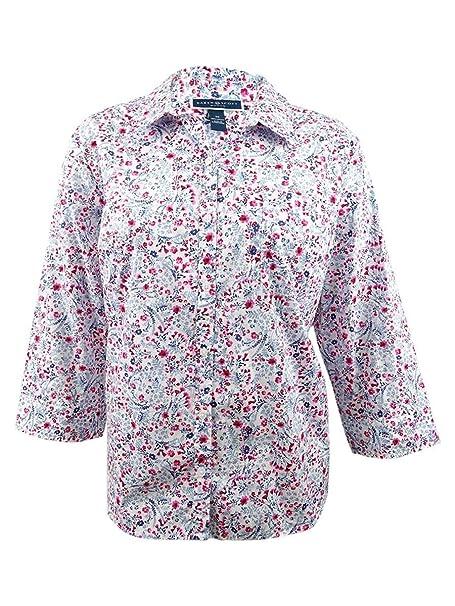 bbdf9088a66e Karen Scott Womens Plus Button-Down Floral Print Blouse White 3X at Amazon Women's  Clothing store: