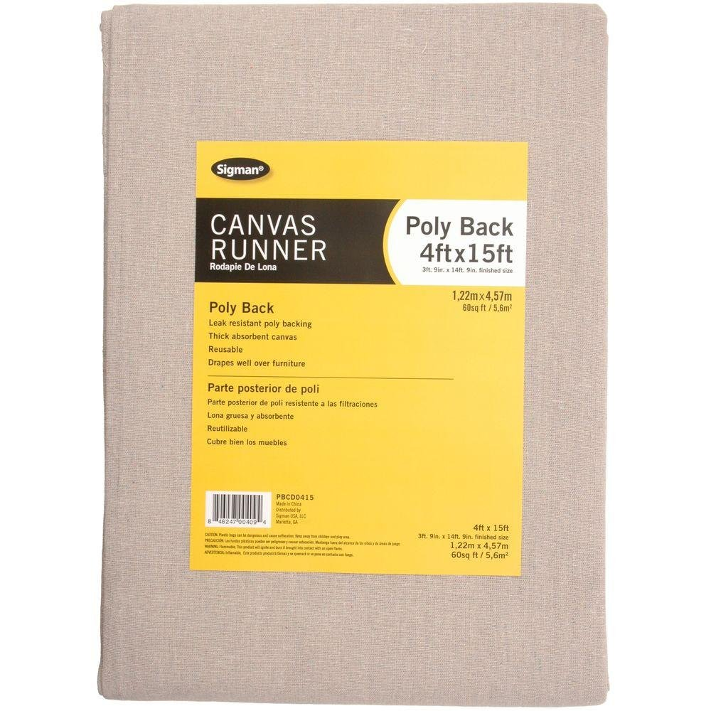 Sigman 3 ft. 9 in. x 14 ft. 9 in. Poly Back Canvas Drop Cloth Runner