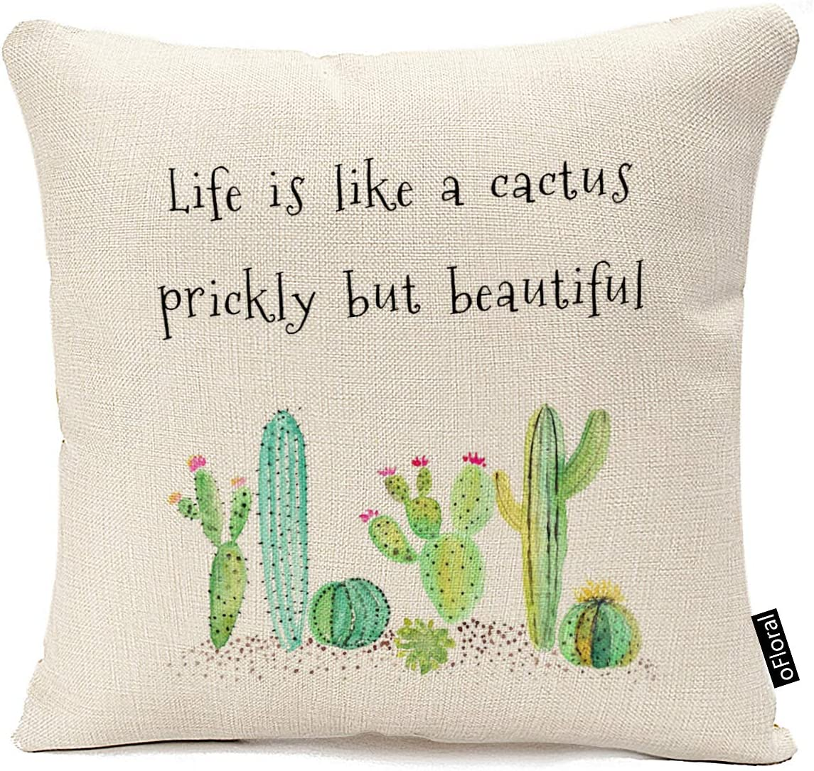 oFloral Inspirational Quote Succulents Plants Cactus Cotton Linen Home Decor Pillowcase Throw Pillow Cushion Cover 18 x 18 Inches (Life is Like A Cactus Prickly But Beautiful)