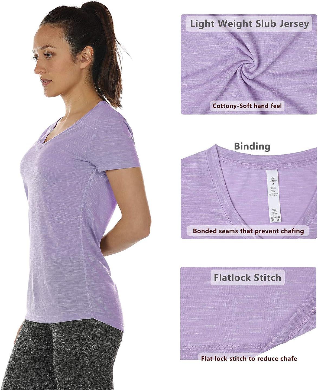 icyzone Damen Kurzarm Yoga Shirt Tops V-Ausschnitt Casual Sport T-Shirt 2er Pack