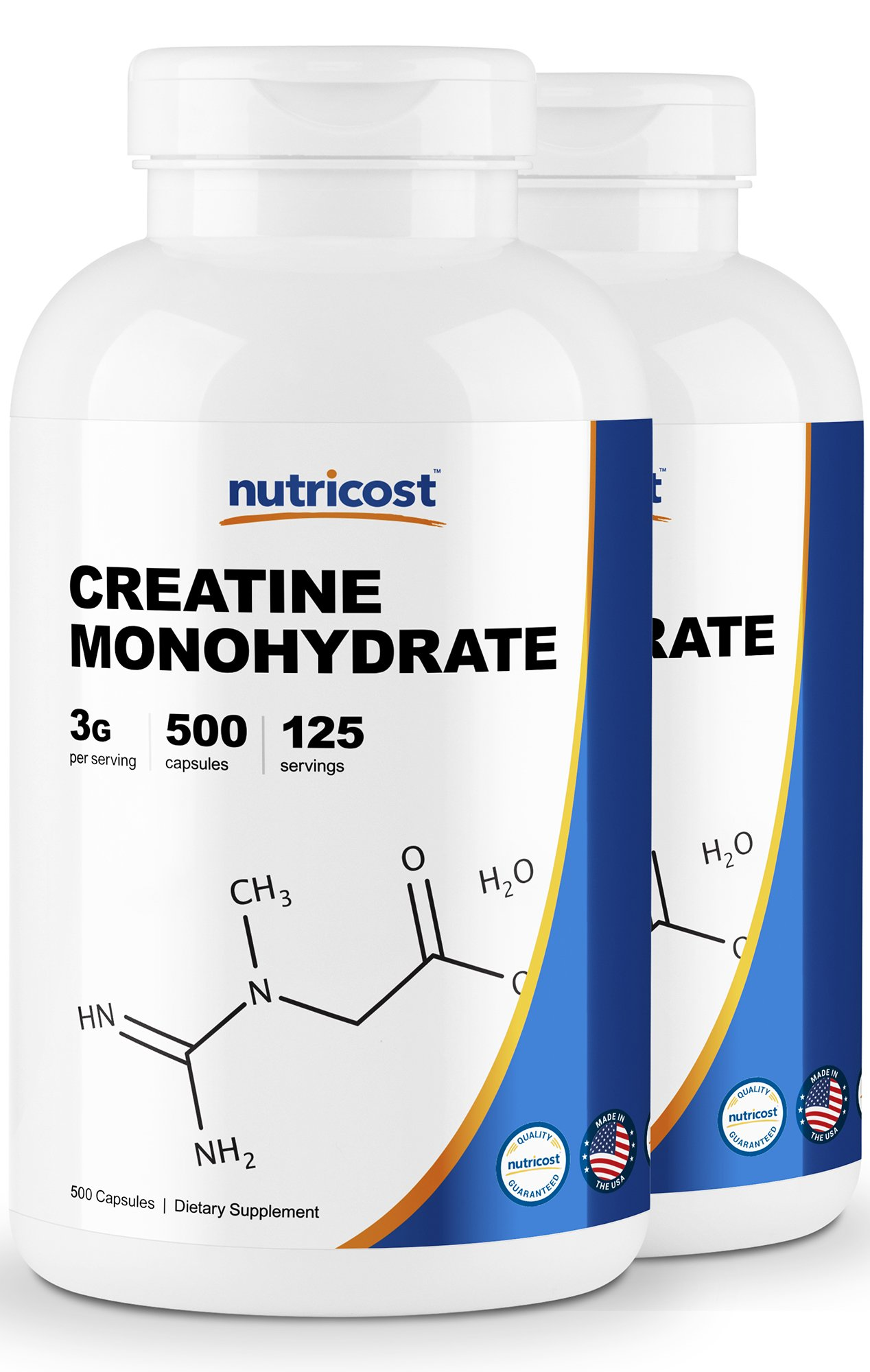 Nutricost Creatine Monohydrate 750mg, 500 Capsules (2 Bottles) by Nutricost