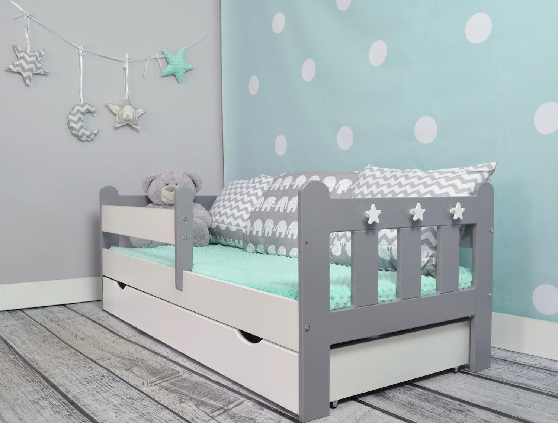 WHITE Safety Foam Mattress and Drawer Stanley Toddler//Junior Bed Grey/&White
