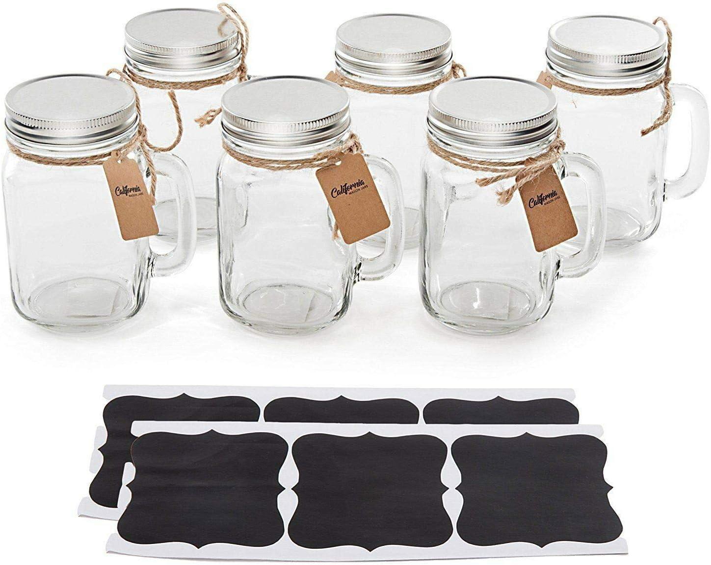 Vintage Glass Mason Jar Cup Mug 6 Pack