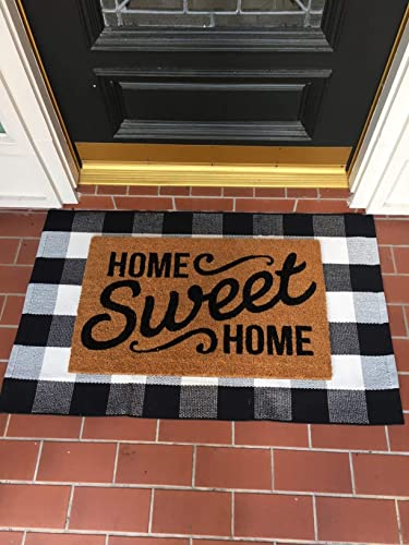 JOSMACO Buffalo Plaid Rug, 27.5 x43 Black and White Plaid Cotton Hand-Woven Outdoor Doormat Machine-Washable Rugs for Layered Door Mats Front Porch Kitchen Farmhouse