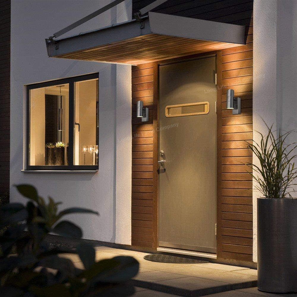 Outdoor Up Down Wall Light Dusk Till Dawn Sensor Stainless Steel Photocell Wiring For Lights Moreover Electrical Finish Zlc0203dtd Garden Outdoors