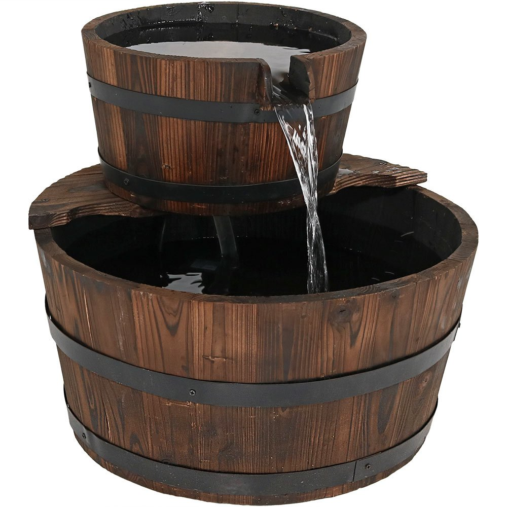 Sunnydaze Rustic Stacked Wooden Bowls Outdoor Water Fountain, 16 Inch, Perfect for Patio, Garden or Landscape Includes Electric Submersible Pump