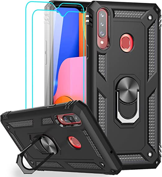 leyi compatible for samsung galaxy a20s case not fit a20 with 2 pack tempered glass screen protector military grade defender phone case with