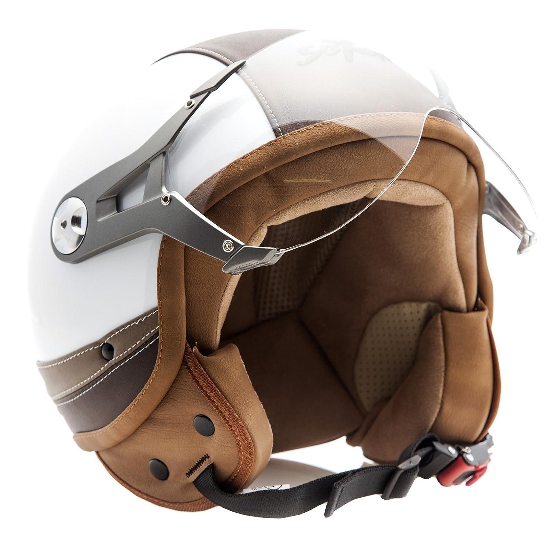 SOXON SP-325-URBAN Red /· Bobber Motard Vespa Scooter Chopper Moto Piloto Urbano Casco Demi-Jet Biker Urban Cruiser Vintage Retro Mofa /· ECE certificato /· design in pelle /· compresi visiera /· compresi Sacchetto portacasco