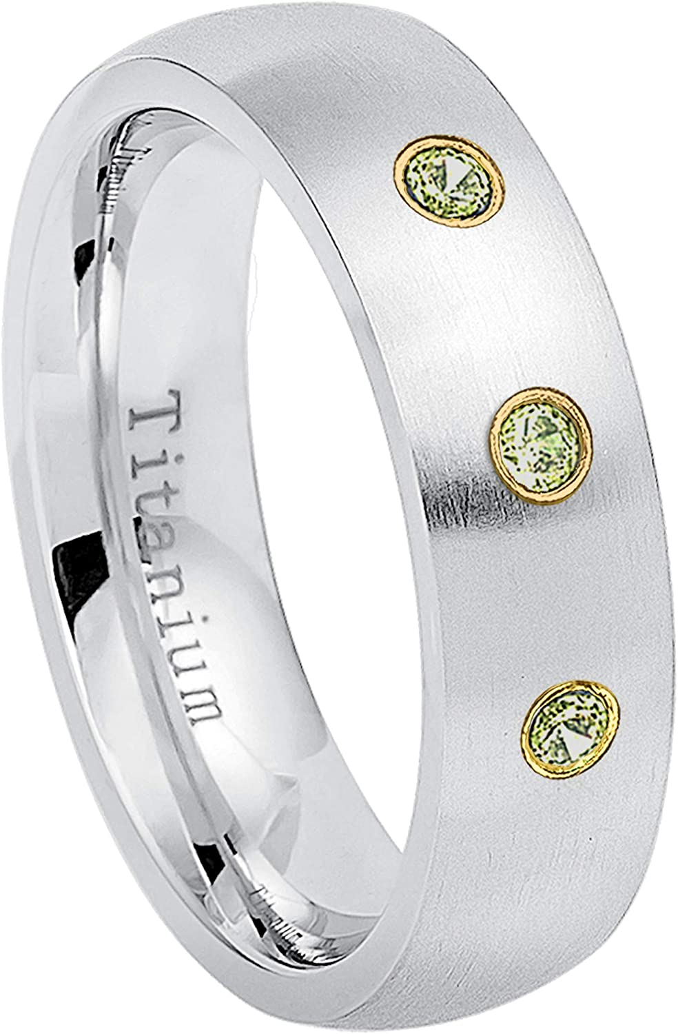 August Birthstone Ring 6MM Brushed Finish Comfort Fit Classic Dome White Wedding Band 10.5 0.21ctw Peridot 3-Stone Titanium Ring