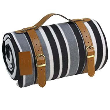 PortableAnd Extra Large Picnic & Outdoor Blanket 3 Layers for Water-Resistant Handy Mat Tote Spring Summer Blank and White Striped Great for The Beach,Camping on Grass Waterproof Sandproof