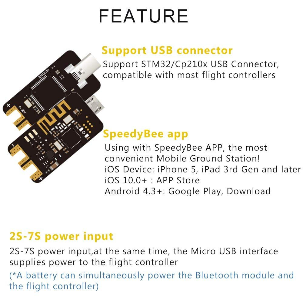 Speedybee Bluetooth Usb Adapter Betaflight 2s 7s Power Input Fuse Board Upgrades Sb Electrical Services Compatible With Ios Android Support Stm32 Cp210x Connector For Fpv Drone Flight Controller