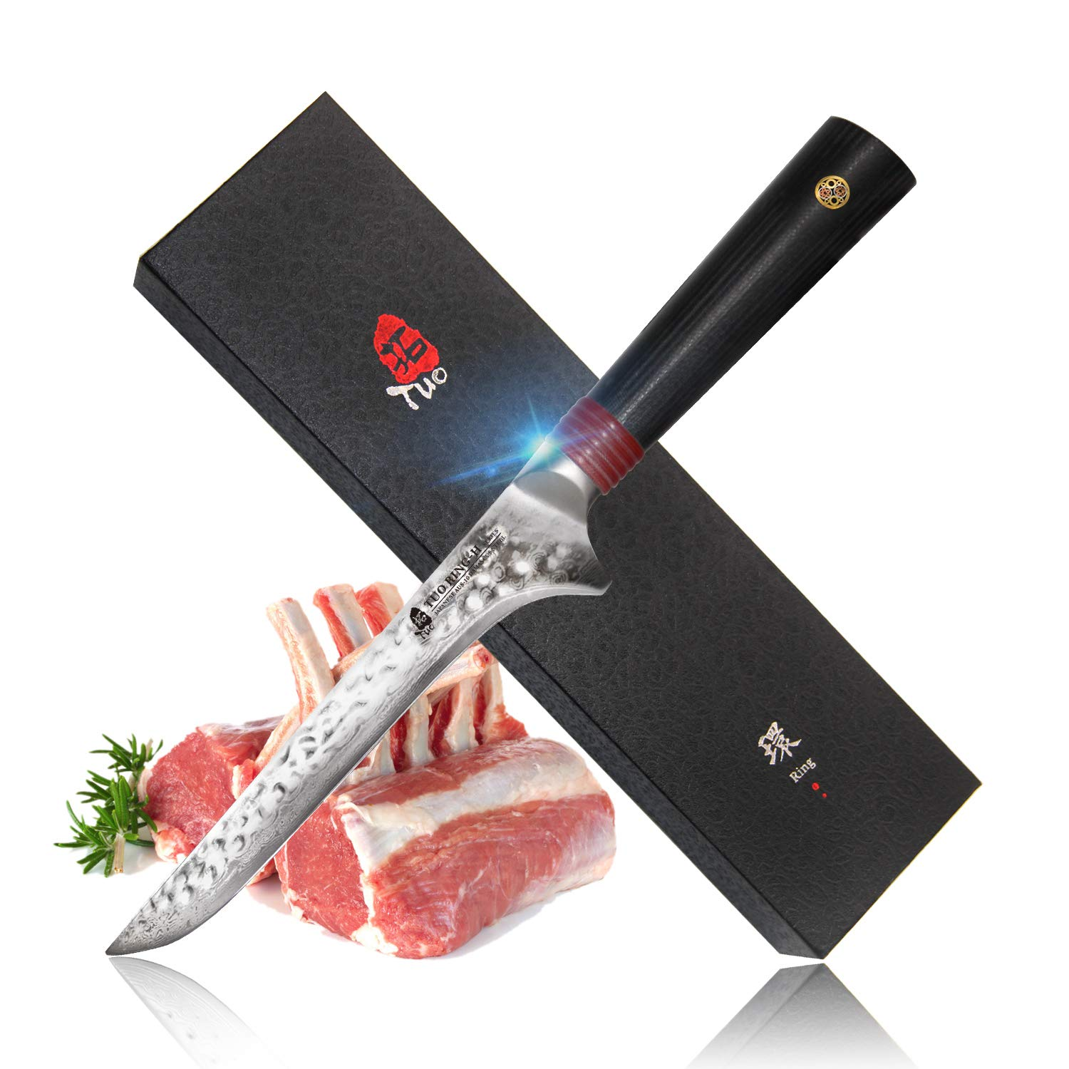 TUO Cutlery Boning Fillet Knife 6 Inch, Japanese AUS-10 High Carbon Rose Damascus Steel, Kitchen Knife With Ergonomic G10 Handle - Ring H Series