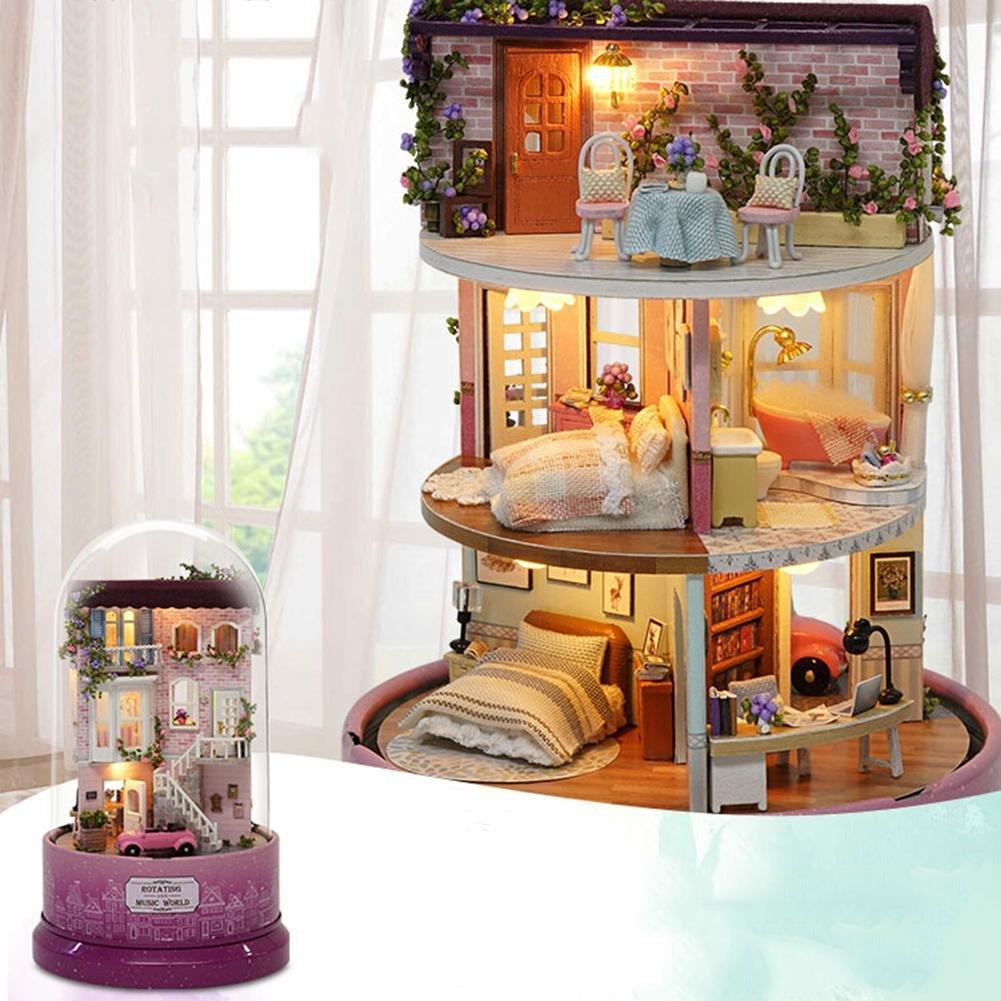 perfectshow Kit de casa de muñecas miniatura de madera bricolaje con luz LED - Modelo Ice Park con nieve/muñecas/estuche de plástico/caja de música: ...
