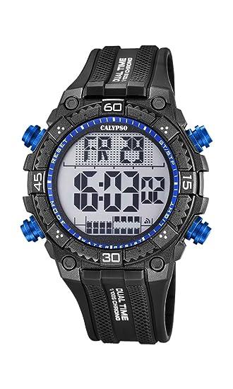 Calypso Hombre Reloj Digital con Pantalla LCD Pantalla Digital Dial y Correa de plástico en Color Negro K5701/7: Amazon.es: Relojes