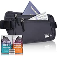 Thin Profile Money Belt w/ Theft Insurance and Lost & Found Service - RFID Block Liner Built-in - Rated for security, quality and ease of travel