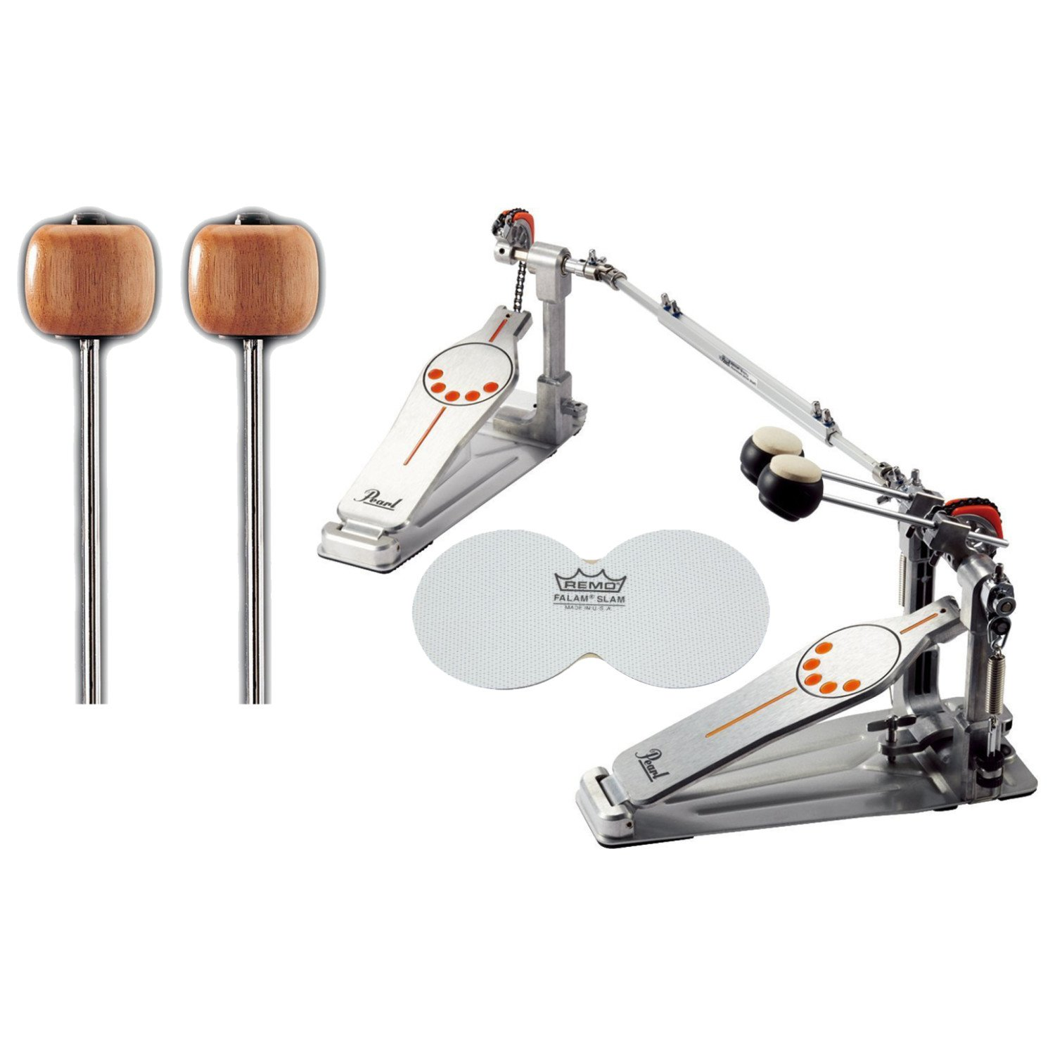 Pearl P932 Double Bass Drum Pedal w/ Extra Wood Beaters and a Bass Drum Patch P932 BUNDLE