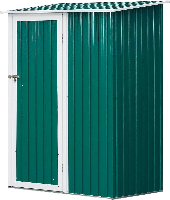 Outsunny Cobertizo de Acero Tipo Caseta de Jardín Terrazas Galvanizado Almacén para Herramientas Jardinería con Techo y Una Puerta143x89x186cm