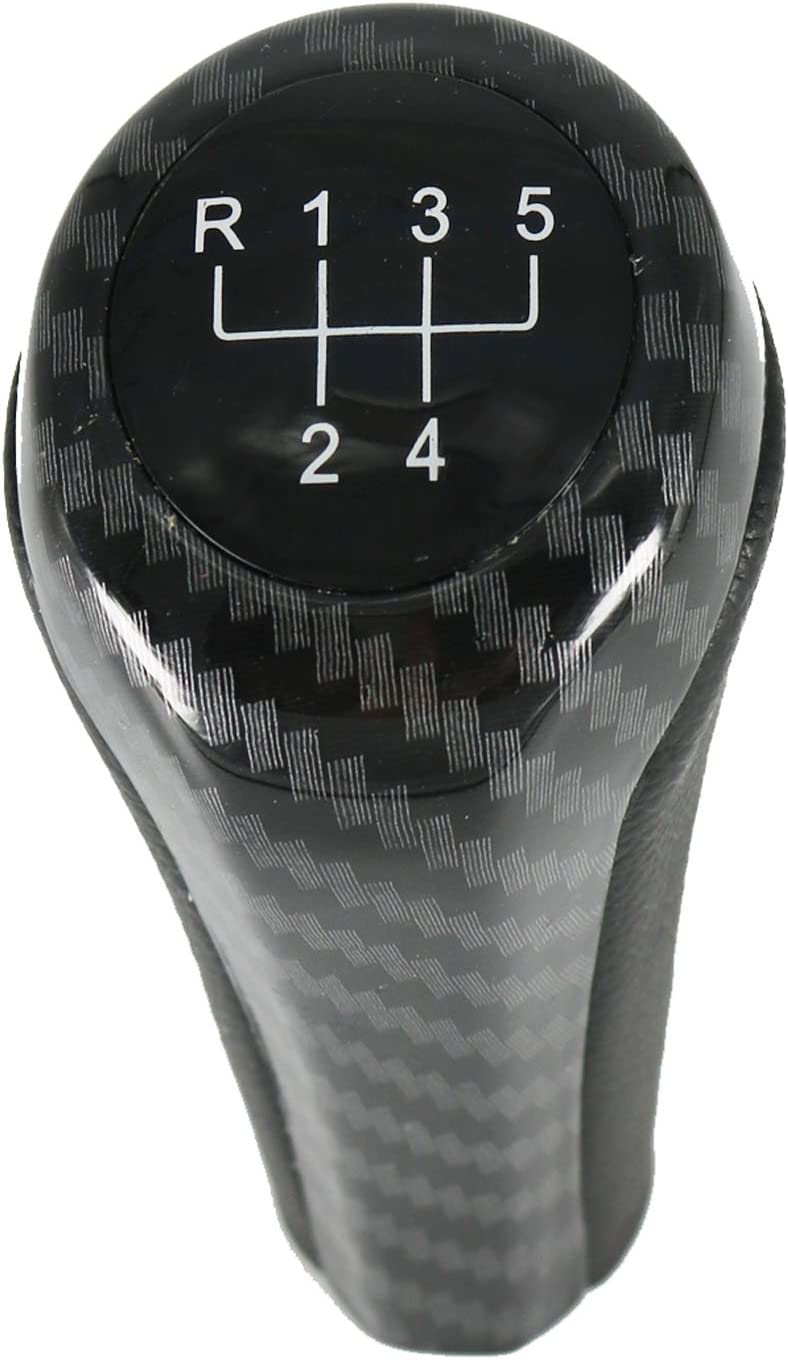 Pursuestar Black Carbon Fiber 5 Speed Manual Shift Knob for BMW 1 3 5 6 Series E30 E32 E34 E36 E38 E39 E46 E53 E60 E63 E83 E84 E90 E91 E92