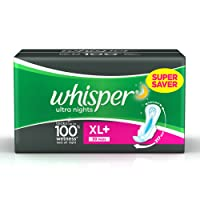 Whisper Ultra Overnight Sanitary Pads XL+ Wings - 30 Count