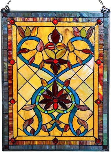 River of Goods Victorian Hearts 24 Inch High Stained Glass Window Panel, Red, Amber, Brown