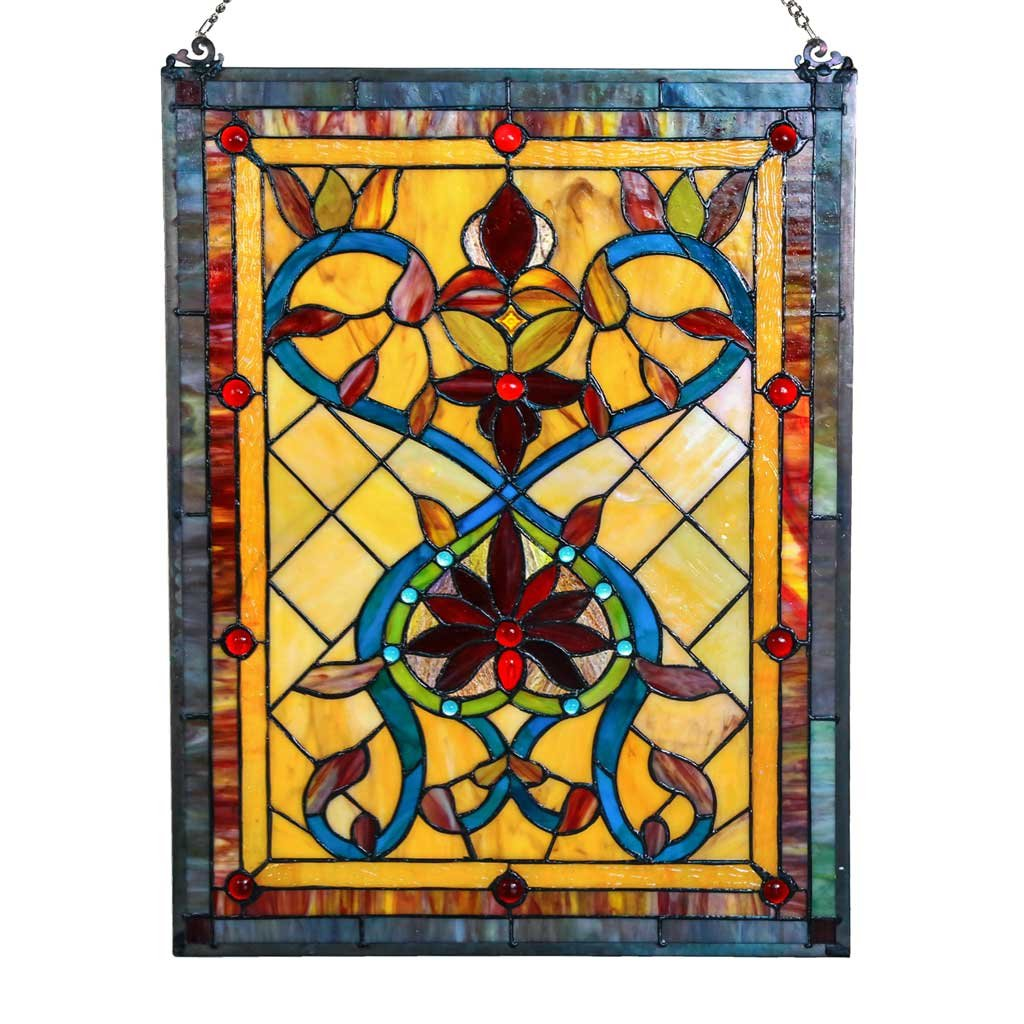 24'' H Tiffany Style Stained Glass Firey Hearts and Flowers Window Panel